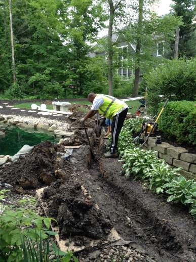Our installers are extremely careful around existing landscaping