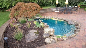 Paver patio water garden landscape